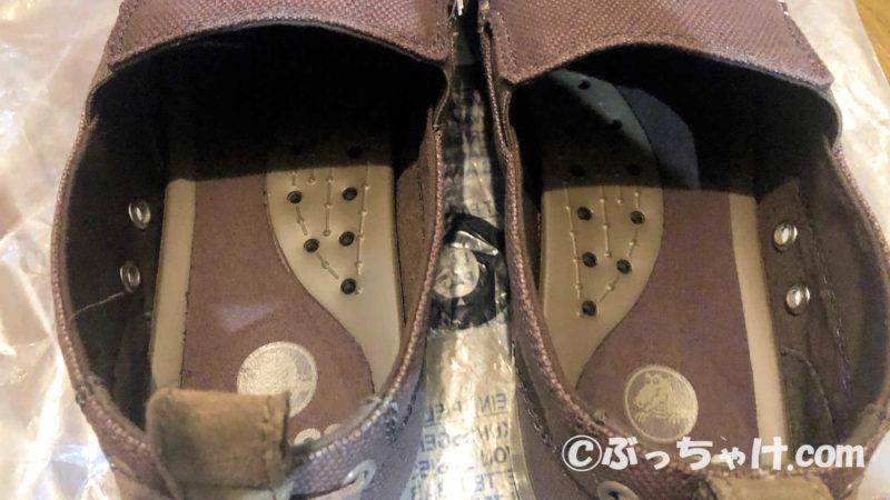 クロックス メンズ用スニーカー「Walu(ワルー)スリップオン」の内部