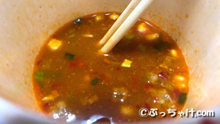 カップヌードル激辛味噌BIGのスープ