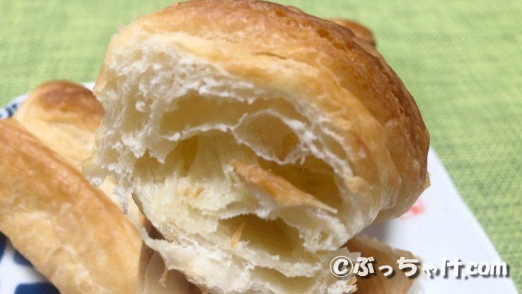 「塩バター風味のクロワッサンスティック」の切断面