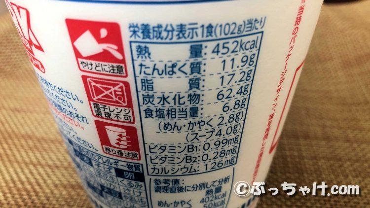 カップヌードル「復刻版ポークチャウダーヌードル」の栄養成分表示