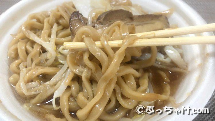 「中華蕎麦とみ田監修三代目豚ラーメン」の極太ワシワシ麺